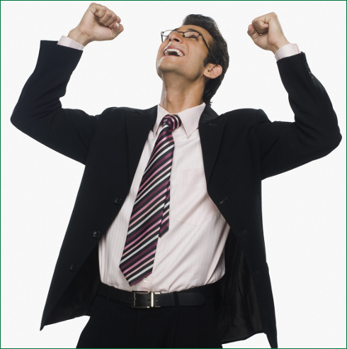 Close-up of a businessman cheering