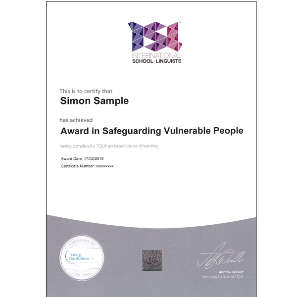 safeguarding certificate sample