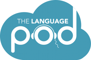Language pod Blue logo PNG